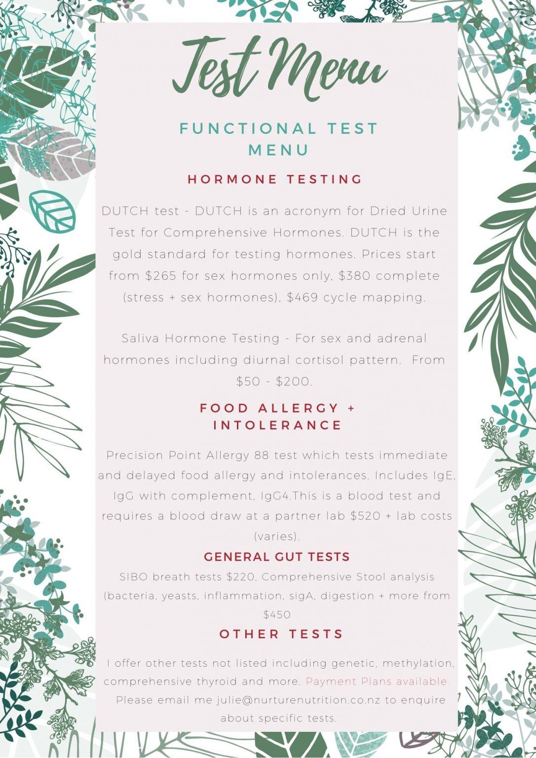 Functional Test Menu